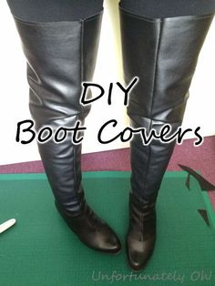 DIY Boot Covers for Adults - This is a great method for fancy dress or cosplay, to make existing footwear more appropriate to the costume. Plus, it doesn't damage your boots :) Cosplay Boots, Cosplay Armor, Cosplay Diy, Halloween Cosplay, Cosplay Costumes, Anime Cosplay, Larp, How To Make Boots, Yennefer Cosplay
