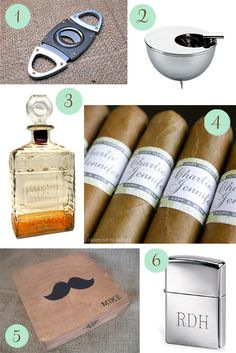 How ridiculous would it be if I surprise Matt and groomsmen with cigars while they're getting ready at church? DIY Wedding Cigar Bar: Would work so well if you do decide on the speakeasy theme!