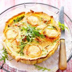 Découvrez la recette Quiche aux pommes et au chèvre sur cuisineactuelle.fr.