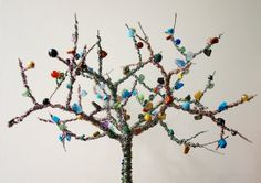 Bespoke wire tree forest sculpture with beads by CuriousVioletUK Tree Forest, Bespoke, Artworks, Wire, Easter, Sculpture, Gemstones, Beads, Spring