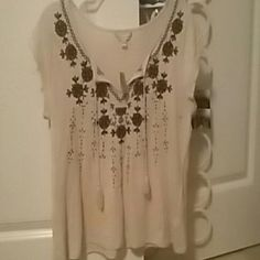 Hey yall! I am selling a CUTE American E shirt! Has a unique flowery pattern never worn!! Medium American Eagle Outfitters Tops Tees - Short Sleeve