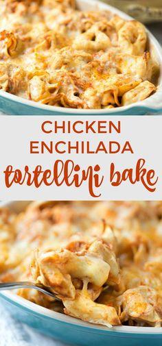 Five Ingredient Chicken Enchilada Tortellini Bake. Ready for dinner in under 30 minutes!   This Gal Cooks