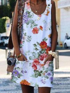 Shop dresses – JustFashionNow Summer Dresses Sundress Daytime Crew Neck Floral-P… Shop dresses – JustFashionNow Summer Dresses Sundress Daytime Crew Neck Floral-Print Casual Sleeveless Dresses [. Casual Dress Outfits, Girly Outfits, Casual Dresses For Women, Clothes For Women, Chic Outfits, Travel Outfits, Work Outfits, Spring Outfits, Casual Wear