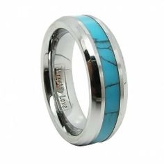 Couple's 8mm or 6mm Comfort Fit Noble Tungsten Ring with Synthetic Turquoise Inlay Mens Aniversary/engagement/wedding Band (Size 5-14 Available) Tungsten Love. $29.99. Thickness: 2.3 to 2.5mm, Width: Men's 8mm and Ladies' 6mm. Finish: Synthetic Turquoise Inlay & Polish Shiny. Brand name: TungstenLove. Material: Tungsten Carbide. Ladies' size 5-8 and Men's size 8-14. Price is only for one item. Place two orders to get a pair