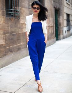 Editor's Style Dobrina Zhekova's Blue Minnoji Jumpsuit - Blue Minnoji 'Mel' Jumpsuit - Elle the blue. the jumpsuit (first time I ever wrote that! Jumpsuit Blue, Formal Jumpsuit, Strapless Jumpsuit, Jumpsuit Outfit, Blazer Outfits, Dressy Casual Summer, Royal Blue Outfits, Street Chic, Street Style
