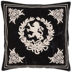 Eichholtz Pillow Baronesa Large ($520) ❤ liked on Polyvore featuring home, home decor, throw pillows, black, black accent pillows, embroidered throw pillows, inspirational throw pillows, inspirational home decor and black throw pillows