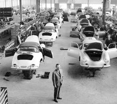 Ferry Porsche in the Porsche 356 assembly hall. State of the art production facility. Where are they now?