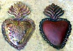 Set of Sacred Hearts  embossed tin/bronze