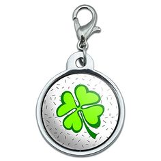 Chrome Plated Metal Small Pet ID Dog Cat Tag Inspirational  Lots of Luck  Irish Four Leaf Clover ** Want to know more, click on the image. (Note:Amazon affiliate link)