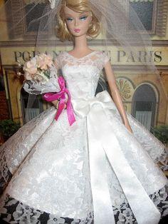 Silkstone OOAK Barbie white Lace Overlay tea length by dollsaga