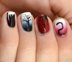 Katy Parsons of Nailed It created this manicure using the Duri Cosmetics collection launched in collaboration with the horror film, Insidious: Chapter 2. | Nail Art, Nail Trends, Nail Designs, Halloween Nails, 31 Days of Halloween Nail Art | NailIt! Magazine