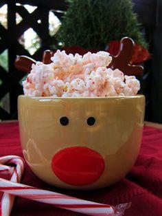 peppermint popcorn. Mmm...  Cute bowl!