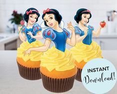Disney Princess Cupcakes, Princess Cupcake Toppers, Disney Princess Snow White, Snow White Cupcakes, Disney Party Decorations, Snow Images, Designer Bridesmaid Dresses, Cupcake Cakes, Jpg File