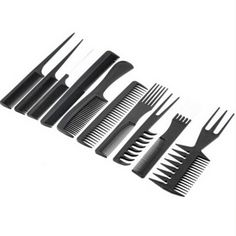 10pcs Professional Hair Combs Kits Salon Barber Comb Brushes Anti-static Hairbrush Hair Care Styling Tools Set Kit for Hair -35