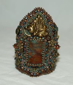 Celtic Goddess Beaded Embroidery Cuff by gayhuntley on Etsy, $269.00