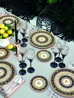 The 2017 dining collection from Rosenthal meets Versace reinterprets the heritage of the Maison with refined decorations of the Baroque era in signature tones of black, white and gold. #VersaceHome #VersaceLifestyle