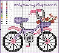 Pretty Cute Bike Cross Stitch or Perler Bead Pattern Mini Cross Stitch, Cross Stitch Samplers, Cross Stitch Charts, Cross Stitch Designs, Cross Stitching, Cross Stitch Patterns, Ribbon Embroidery, Cross Stitch Embroidery, Embroidery Patterns