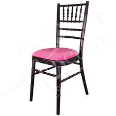 Black Chiavari Wedding Chair with Fuchsia Pink Seat Pad