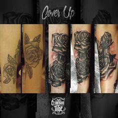 #roses #coverup #rosetattoo #blackwork #realrose #tattoo #tattooedgirl #ink #inkedgirl #inkstagram #tattoostagram #london #tattooinlondon #camdentown #igorsto #crimsontideink #tattooed #inked 3hr done.