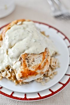 Caramelized chicken with jalapeno cream sauce.