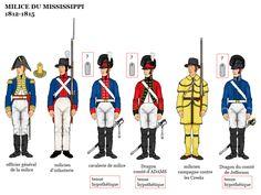 American War of 1812 Uniforms; American Indian Wars, American Civil War, Army Uniform, Uniform Dress, Military Uniforms, Mississippi, American Uniform, Independence War, British Uniforms