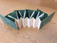 concertina spine with sections sewn into the valley of the spine and each with covers that wrap the sections by Joan