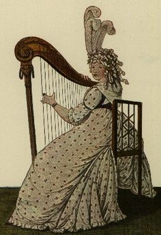 Afternoon Dress. Playing the harp became a craze for young ladies in the 1790s. The harp was thought to show off a lady's arms to great advantage. This harpist wears a spotted round gown with a simple ruffle at the hem. A handkerchief knotted around her neck keeps her chest warm.