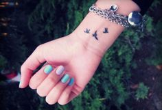To represent the three kids, I am going to get this done :) // Next ink, except with the bird in the middle (the largest one) and the one on the far right switched.. mama bird leading the way. :)