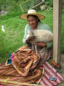 Doña Antonia Working on Crochet Border for Poncho for 2012 Carnaval, Bolivia.