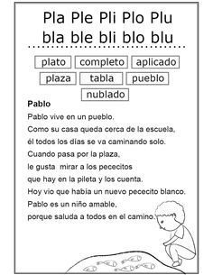 Estudio de los grupos consonánticos pl y bl (Ficha Nº 31 Complementaria al Silabario y Texto de lenguaje 2013) Spanish Lessons For Kids, Spanish Teaching Resources, Elementary Spanish, Spanish Classroom, Speech Language Therapy, Speech And Language, Language Activities, Learning Activities, Interactive Journals
