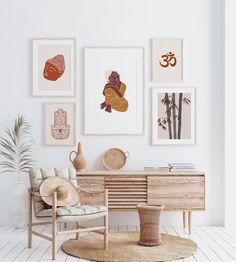 Yoga Studio Interior, Yoga Room Decor, Bamboo Art, Buddha Art, Meditation Space, Indian Art, Art Studios, Midcentury Modern, House Colors