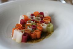 Crudité of carrots, beet roots, cucumber, kohlrabi and a chicken stock  (at Noma, Copenhagen) substitute the chicken stock...