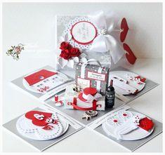 I like challenges :): Gościmy dziś Dido! Card In A Box, Pop Up Box Cards, Magic Box, Wedding Cards Handmade, Greeting Cards Handmade, Scrapbook Box, Scrapbooking, Explosion Box Tutorial, Exploding Gift Box