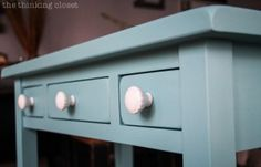 Newly installed knobs on a freshly painted table. Swoon!