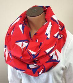 183e0c403b697 Sailboat Nautical Print Infinity Scarf Nautical Prints, Sailor Fashion,  Loop Scarf, Scarf Styles