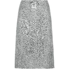 Nina Ricci Sequined voile skirt (£474) ❤ liked on Polyvore featuring skirts, silver, sequin skirt, voile skirt, below knee skirts, embellished skirts and nina ricci