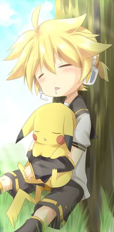 God.. I Never Knew That Len Would Look So Perfect With Pikachu... <3