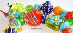 R E S E R V E D for rgdickey.........S u u z D e s i g n  handmade lampwork bead set. --Summer Frog-- SRA