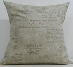 New 18x18 inch Designer Handmade Pillow Case in taupe and brown script. $20.00, via Etsy.