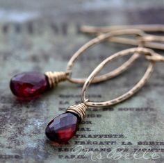 Garnet Gemstone Briolette Marquise Link Dangle Earrings by MsBelle, $48.00
