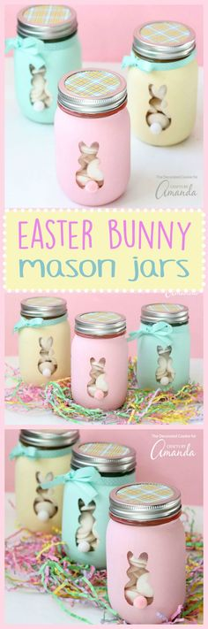 Mason jar easter gift ideas easter jar and easter crafts these easter bunny mason jars are perfect to fill with candy or votive candles and use negle Choice Image