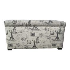 """The word is """"toile,"""" either way it's great!! Upholstered Storage Bench Toil Print Fabric Bed Bedroom Decor Home Design Access"""