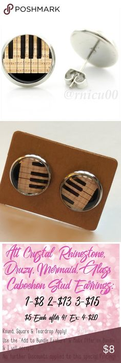 """🆕Piano Keys Music Lover Glass Stud Earrings! Now, Featuring Earrings Handmade by Me! Approx 1/2"""" Diameter, 12mm; Piano Keys Glass Cabochon Stud Earrings with Silver Post Backs!  ▶️Part of 3 for $15 Deal! Bundle & Save! • Glass Cabochon Stud Earrings for pierced ears • Nickel, Lead & Cadmium Free  *NO TRADES *Price is FIRM as Listed!  *Sales are Final-Please Read Descriptions! Handmade By Me Jewelry Earrings"""