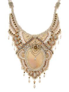 Queen bib bead embroidery bride weding necklace by AniDandelion, $350.00