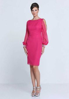 Bridesmaid Chiffon sheath knee length gown, bateau neckline, fashion long sleeves, cuff accented with beads, V back.