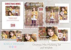 Christmas Mini Marketing Set psd templates by KimlaDesigns on Etsy, #photography #marketing #photoshop #christmas