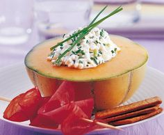 Melone mit Hüttenkäse - Rezept - Saisonküche