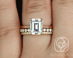 Rosados Box Skinny Norma 9x7mm, Petite Naomi, & Kubian 14kt Rose Gold Emerald F1- Moissanite and Diamond TRIO Wedding Set