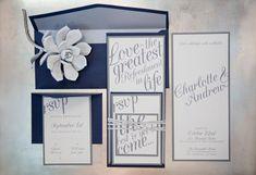 Modern wedding invitations, gray and plum. paper goods: Cherish Paperie