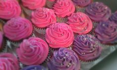 Pink and purple cupcakes with glitter.  Perfect for girl's birthday party!